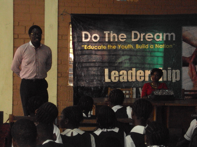 Biodun Gaffar at Captains College for DoTheDream Leadership Seminar
