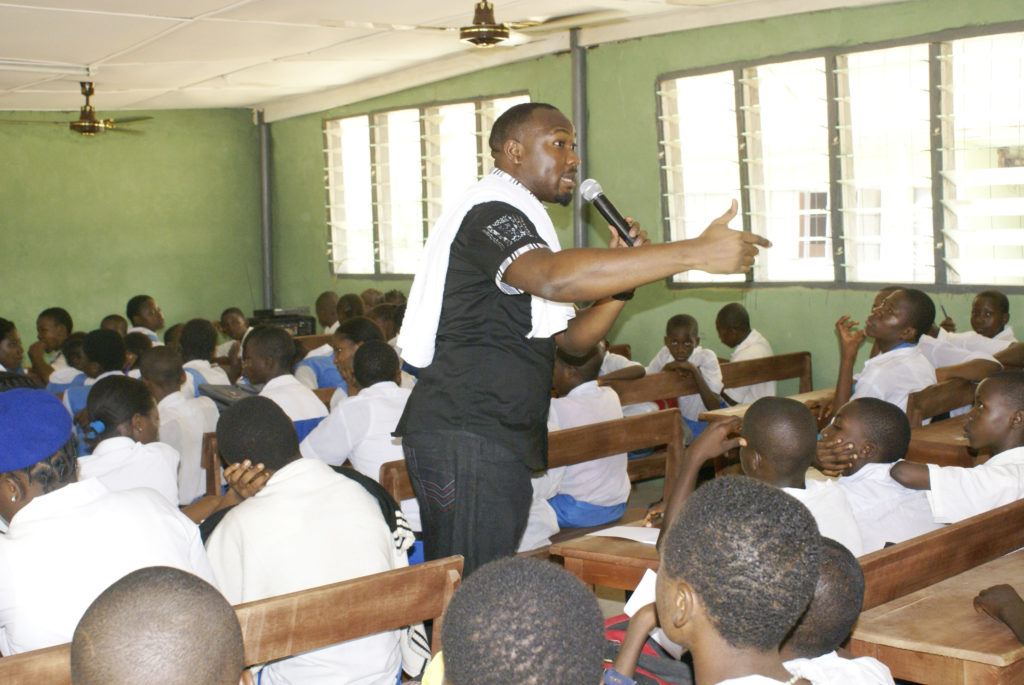 Segun obe at DoTheDream Leadership Seminar Victory High School